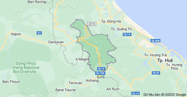 Bản đồ huyện Đakrông, Quảng Trị, Việt Nam